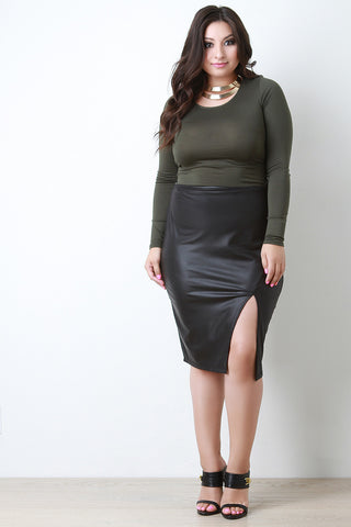 High Waist Pleather Asymmetrical Midi Skirt - Beauty & Bronze Clothing and Accessories