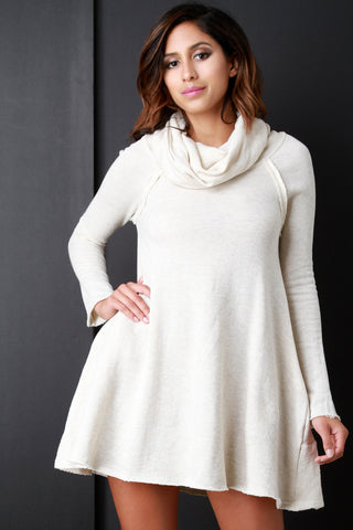 Cowl Neck Longsleeve Pocketed Shift Dress - Beauty & Bronze Clothing and Accessories