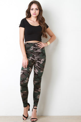 Camouflage High Waisted Leggings - Beauty & Bronze Clothing and Accessories