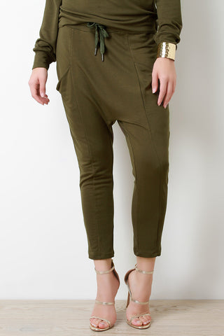 Drop Crotch Skinny Jogger Pants - Beauty & Bronze Clothing and Accessories