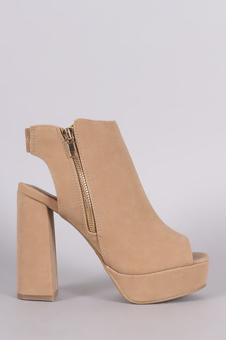 Bamboo Peep Toe Mule Chunky Heel Booties - Beauty & Bronze Clothing and Accessories