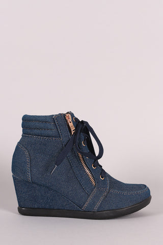 Denim Lace-Up High Top Wedge Sneaker - Beauty & Bronze Clothing and Accessories