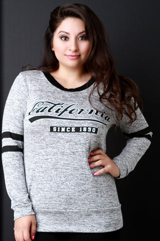 California Since 1850 Stripe Sleeves Sweater Top - Beauty & Bronze Clothing and Accessories