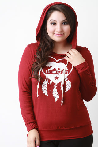 California Love and Dreaming Hooded Long Sleeve Tee - Beauty & Bronze Clothing and Accessories