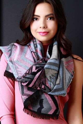 Aztec Soft Knit Lightweight Scarf - Beauty & Bronze Clothing and Accessories