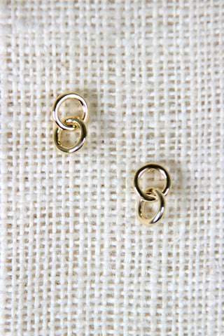 Double Link Stud Earrings - Beauty & Bronze Clothing and Accessories