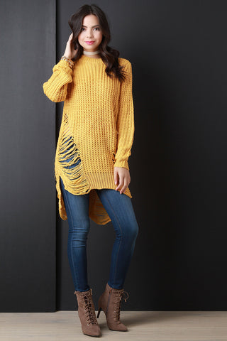 Chunky Knit Side Slit Shredded Sweater Top - Beauty & Bronze Clothing and Accessories