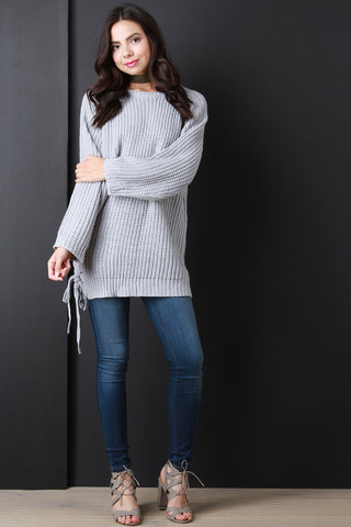 Chunky Knit Side Tie Sweater Top - Beauty & Bronze Clothing and Accessories