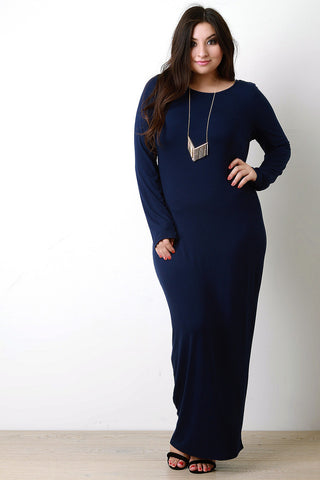 Jersey Round Neck Long Sleeves Maxi Dress - Beauty & Bronze Clothing and Accessories