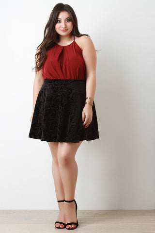 Embossed Velvet Mini Skirt - Beauty & Bronze Clothing and Accessories