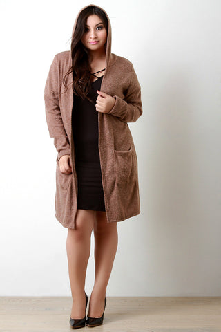 Brushed Loose Knit Hooded Longline Cardigan - Beauty & Bronze Clothing and Accessories