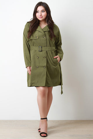 Belt Sash Lightweight Soft Trench Coat - Beauty & Bronze Clothing and Accessories
