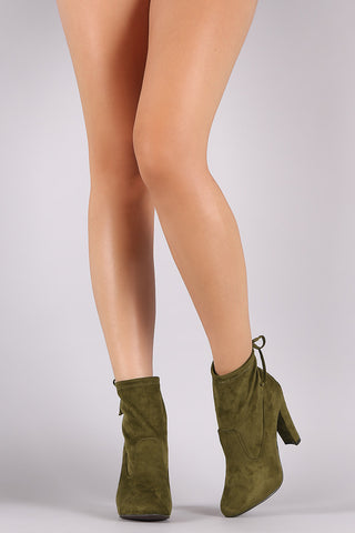 Breckelle Mitten Suede Heeled Ankle Boots - Beauty & Bronze Clothing and Accessories