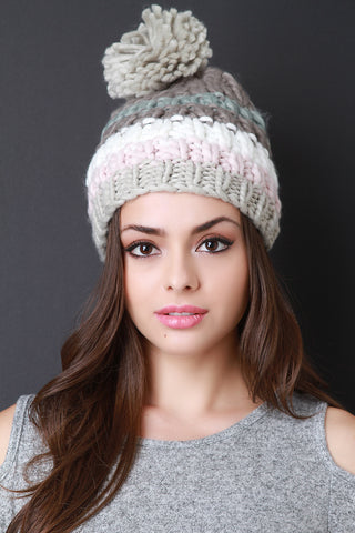 Chunky Rib Knit Stripe Pom Pom Beanie - Beauty & Bronze Clothing and Accessories