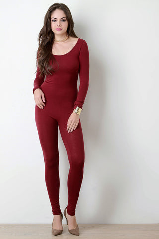 Jersey Scoop Neck Long Sleeves Jumpsuit - Beauty & Bronze Clothing and Accessories