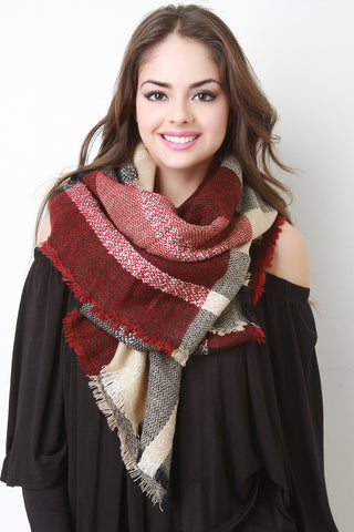 Check Square Frayed Scarf - Beauty & Bronze Clothing and Accessories