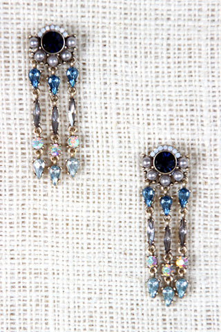 Pearls and Rhinestones Chandelier Stud Earrings - Beauty & Bronze Clothing and Accessories
