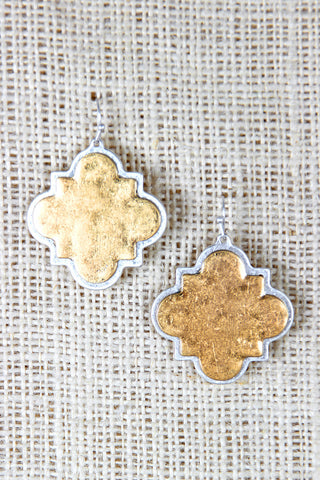 Lucky Charm Plate Dangle Earrings - Beauty & Bronze Clothing and Accessories
