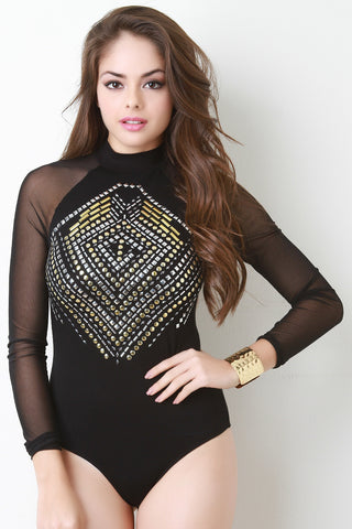 Studded Mock Neck Long Sleeve Bodysuit - Beauty & Bronze Clothing and Accessories