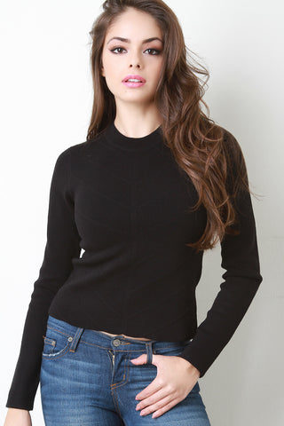 Ribbed V Sweater Top - Beauty & Bronze Clothing and Accessories