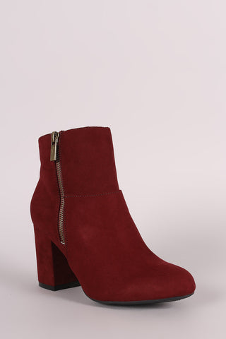 Bamboo Suede Zipper Accent Chunky Heeled Ankle Boots - Beauty & Bronze Clothing and Accessories