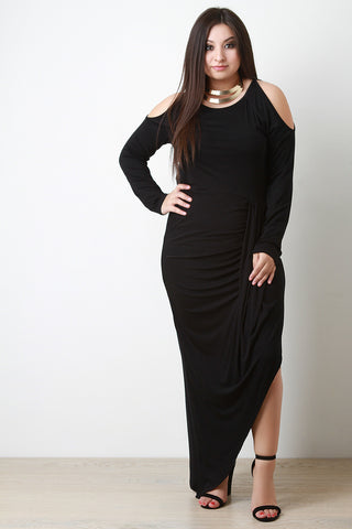 Cold Shoulder Draped Skirt Maxi Dress - Beauty & Bronze Clothing and Accessories