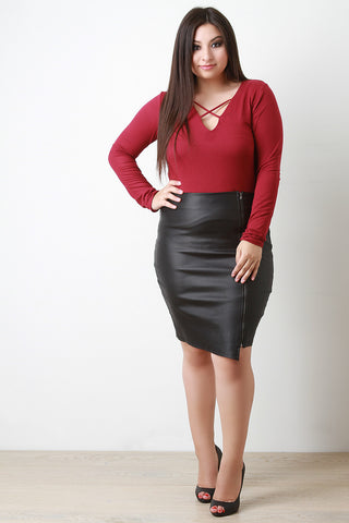 Asymmetrical Vegan Leather Midi Skirt - Beauty & Bronze Clothing and Accessories