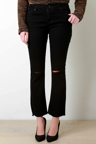 Distressed Knee Frayed Hem Flare Jeans - Beauty & Bronze Clothing and Accessories