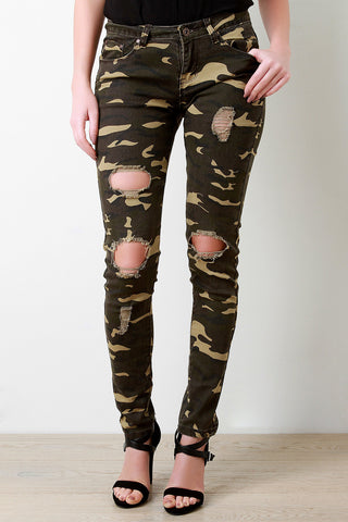 Camo Distressed Knee Hole Skinny Jeans - Beauty & Bronze Clothing and Accessories