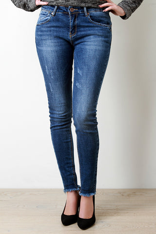 Distressed Frayed Hem Skinny Jeans - Beauty & Bronze Clothing and Accessories