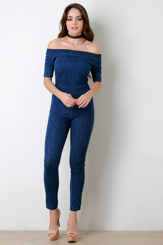 Folded Off-The-Shoulder Washed Denim Jumpsuit - Beauty & Bronze Clothing and Accessories