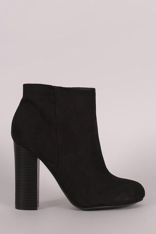 Bamboo Suede Chunky Heeled Ankle Boots - Beauty & Bronze Clothing and Accessories