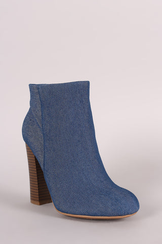 Bamboo Denim Chunky Heeled Ankle Boots - Beauty & Bronze Clothing and Accessories