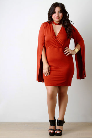 Choker Banded Surplice Open Sleeve Dress - Beauty & Bronze Clothing and Accessories