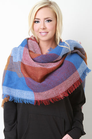 Block Pattern Fringe Hem Blanket Scarf - Beauty & Bronze Clothing and Accessories