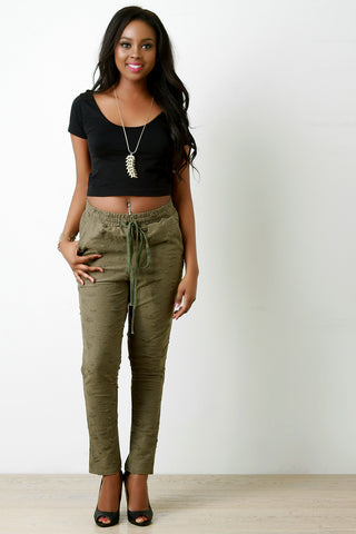 Distressed Self-Tie Drawstring Joggers - Beauty & Bronze Clothing and Accessories