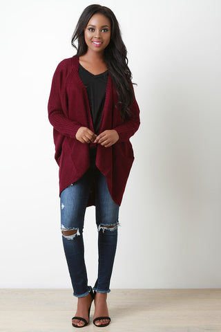 Chunky Knit Asymmetrical Pocket Cardigan - Beauty & Bronze Clothing and Accessories