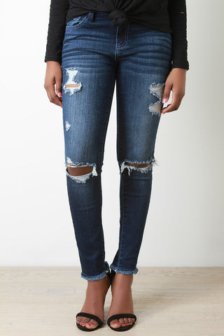 Distress Frayed Hem Skinny Jeans - Beauty & Bronze Clothing and Accessories