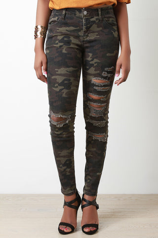 Camouflage Distress Skinny Pants - Beauty & Bronze Clothing and Accessories