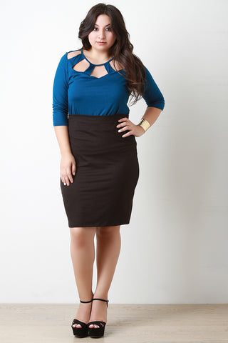 Jersey Knit Pencil Midi Skirt - Beauty & Bronze Clothing and Accessories