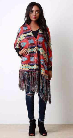 Aztec Button-Up Tassel Fringe Poncho - Beauty & Bronze Clothing and Accessories