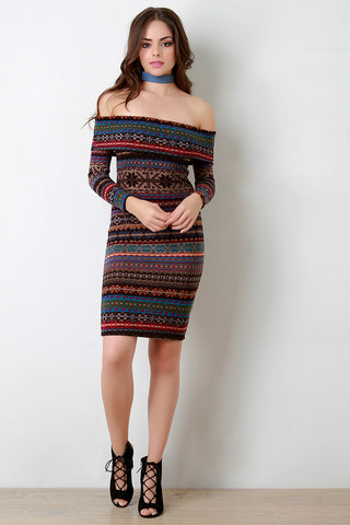 Aztec Pattern Off-The-Shoulder Long Sleeve Dress - Beauty & Bronze Clothing and Accessories