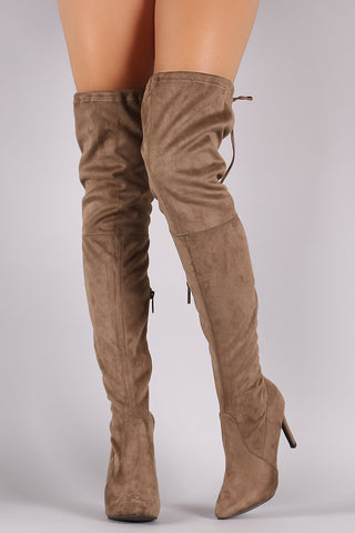 Breckelle Suede Drawstring-Tie Pointy Toe Stiletto Boots - Beauty & Bronze Clothing and Accessories