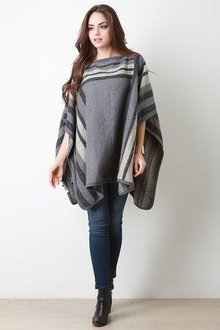 Colorblock Pattern Wool Pullover Poncho - Beauty & Bronze Clothing and Accessories