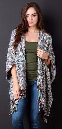 Brushed Loose Knit Neon Inset Fringe Poncho - Beauty & Bronze Clothing and Accessories