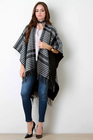 Checkered Open Front Fringe Hem Poncho - Beauty & Bronze Clothing and Accessories