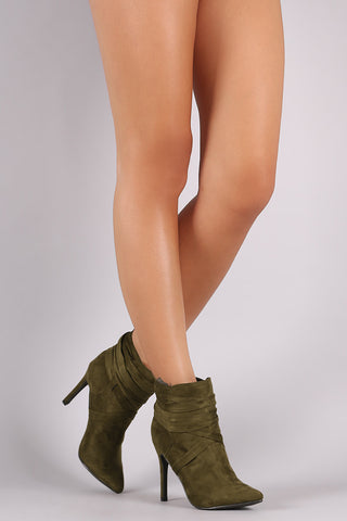 Breckelle Suede Pointy Toe Lace Up Ankle Boots - Beauty & Bronze Clothing and Accessories