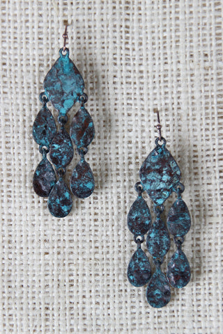 Antiqued Drop Chandelier Earrings - Beauty & Bronze Clothing and Accessories