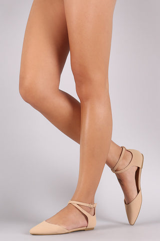 Bamboo Nubuck Crisscross Ankle Strap Pointy Toe Flat - Beauty & Bronze Clothing and Accessories