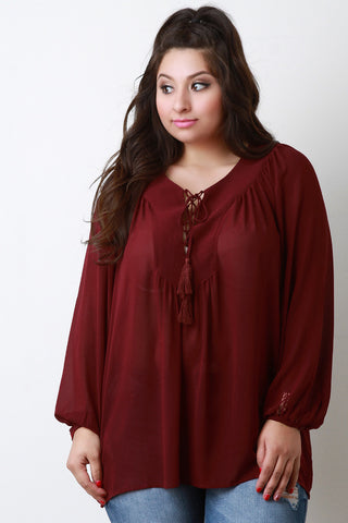 Chiffon Lace Up Peasant Blouse - Beauty & Bronze Clothing and Accessories
